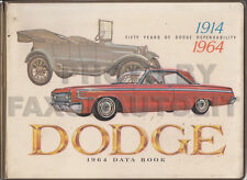 1964 Dodge Data Book Color Upholstery Dealer Album 330 440 880 Dart Polara 426
