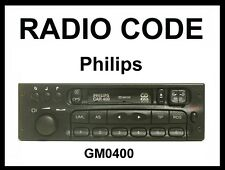 █► radio código Philips Opel car400 mk1 mk2 gm0400 radio código