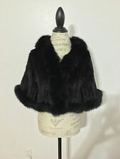 Women's Maximilian Fox-Trim Knitted Mink Fur Bolero, Medium, Black