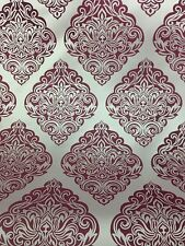 Design Corvette Fabric Curtain  / Upholstery Silver / Burgundy 140 Cm Width
