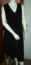 Eddie Bauer  Cotton Black Corduroy V-Neck  UNIFORM Modest Jumper Dress Petite L
