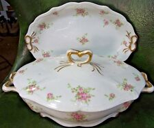 Limoges C AHRENFELDT France Depose COVERED VEGETABLE BOWL & PLATTER Pink Roses