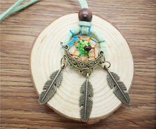 NEW Retro Handmade Dreamcatcher Feathers With Bead Long Chain Green Necklace BR0