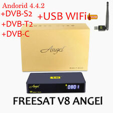 FREESAT V8 Angel Android Smart TV Satellite Receivers Decoder + Free USB Antenna