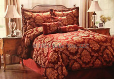 NWT 7pc COMFORTER SET SILKEN ROPE TRIM BURGUNDY GOLD JACQUARD COMPLETE QUEEN SET