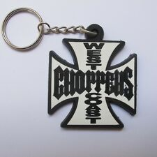 WEST COAST CHOPPERS KEYCHAIN RUBBER BIKER MOTOCYCLE TRUCK KEYRING WHITE&BLACK