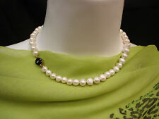 CHINESE  FRESH WATER PEARL / 14K  GOLD ONYX CLASP NECKLACE  16 3/4""