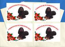 GORDON SETTER PACK OF 4 CARDS DOG PRINT GREETING CHRISTMAS CARDS