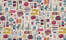 Fat Quarter Sew Retro Sewing Notions Cotton Quilting Fabric Makower 1103