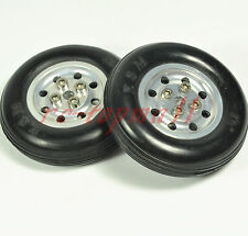 "1 Pair 4.5""/ 114.3mm Solid Rubber Wheels with Alu Hub For RC Aircraft"