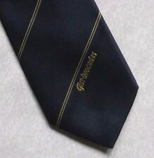 GIST BROCADES TIE VINTAGE RETRO COMPANY LOGO 1980s 1990s NAVY CLUB STRIPED