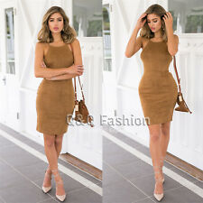 New Women Backless Lace Up Camel Leather Suede Pencil Skirt Midi Bodycon Dress M