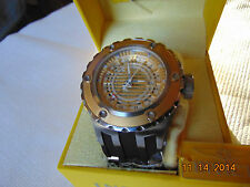 Invicta Reserve 52mm Subaqua GMT 18K IP Gold Bezel Skeletonized Dial SS Watch