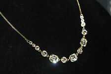 GIVENCHY GOLD TONE 5 CRYSTALS NECKLACE