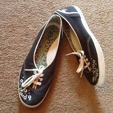 Women's KEDS Casual lkn Red or  blue Canvas Floral Teacup  Shoes Sneakers Sz 8.5