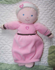 """Carter's Pink Soft Cloth w Brown Polka Dots Rattle Baby Doll w Hearts EUC 10"""""""