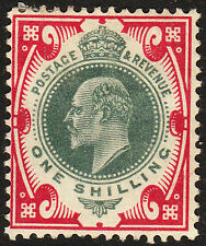 SG 257 Dull Green & Bright Carmine M45(2)in fine & fresh mounted mint condition.