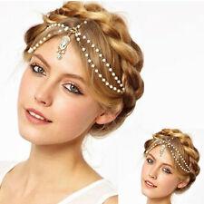 Trendly Women's Metal Rhinestone Head Jewelry Headband Chain Headpiece Jewelry