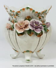 LARGE FOOTED CENTERPIECE BOWL VASE POT Capodimonte ITALY w/ FLOWERS