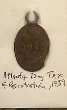 1939 Atlanta Dog Tag Tax And Registration 1.5 Inch