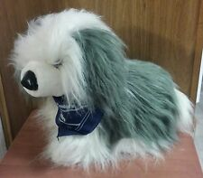 """New Kellytoy Stuffed Old English Sheepdog Toy with Navy Scarf, 20"""" Long"""
