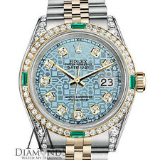 Womens Rolex Steel&Gold 31mm Datejust Watch Jubilee IceBlue Emerald Diamond Dial