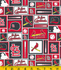 MLB ST LOUIS CARDINALS PATCH PRINT 100% COTTON FABRIC BY THE 1/2 YARD