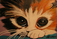 "ORIGINAL A258 ACRYLIC MINIATURE ART ACEO PAINTING BY LJH ""SHY KITTY""  CAT KITTEN"