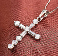18k white gold filled cross CZ pendant chain woman necklace N-A295