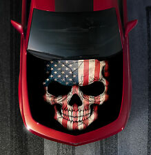H09 AMERICAN FLAG SKULL Hood Wrap Wraps Decal Sticker Tint Vinyl Image Graphic