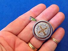 St BENEDICT Protection Two Tone Saint Medal Stainless Steel Spinner Gold Plated