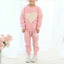 2pcs Girls Kids Sweet Heart Clothing Tracksuit Top+Pant Outfits Casual Suit Set