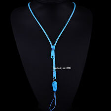 NEW  Free shipping zipper necklace Employee's card/key hang rope sky blue F60