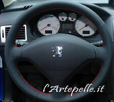 STEERING WHEEL COVER for PEUGEOT 207 HDI black leather perforated RED STITCHING