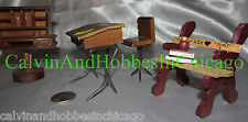 1980s Vintage Miniature Wooden School & Old Fashioned Desks + Bench - Q-168