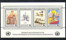 UN (NY) 1986 WFUNA/Art/Refugees/Transport/Oxen/Kites/Woman/Children m/s (n33886)