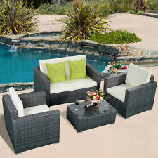 4PC Gray Wicker Rattan Sofa Furniture Set Patio Garden Lawn Cushioned Seat