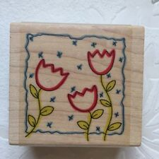 NEW - 3x TRIPLE TULIP FLOWERS & FRAME - MEDIUM WOODEN RUBBER STAMP - CARDMAKING