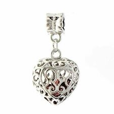 Womens cute red crystal Silver/ white Gold Plated heart Hollow Charm Pendant
