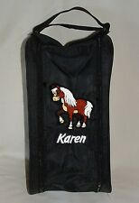 Personalised Shetland Pony / Horse Equestrian Shoe Bag - Embroidered - Any Name