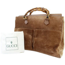 GUCCI Bamboo Hand Bag Brown Suede Leather Made in Italy Vintage Auth #6920 M