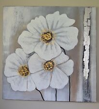 Hand Painted Flower White 100cm X 100cm Art Painting Canvas Framed