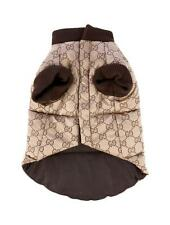 GUCCI Dog Clothes Pet Cute Brown Puffy GG Monogram Jacket Coat XS