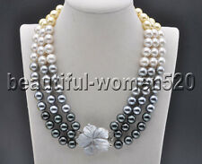 Z8269 3Strds 10mm Gradient Golden-Black SOUTH SEA SHELL PEARL NECKLACE