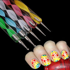5X 2 ways Stylo Dotting Pen Ongle Marbleizing Strass Tips Manucure Nail Art Tool