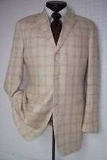 Vestimenta MKR of Black Label Armani Beige Plaid 3 Button Silk/ Linen Coat 40 R