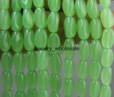 50pcs Charm Loose Oval Glass Bead Twisted Beads 10x6mm 10 Colors U Pick