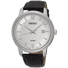 Seiko Men's SUR201 Casual Dress Stainless Steel Silver Dial Leather Band Watch