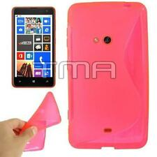 S Shape TPU Gel Rubber W/ Side Grip Case For Nokia Lumia 625 + Screen - Hot Pink