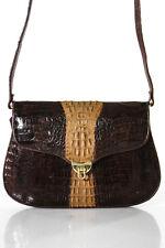 Designer Brown Crocodile Skin Shoulder Handbag Size Small